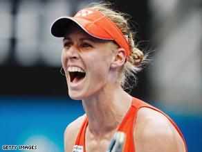 Dementieva celebrates her impressive semifinal victory over Serena Williams in Sydney.