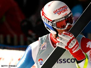 Defago shows his delight after ending Switzerland's six-year wait for a Wengen downhill success.