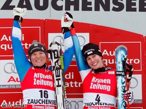 Paerson (left) and Gisin were both celebrating after recording identical times in Sunday's downhill in Austria.