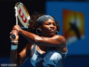 Serena pummels a backhand during her opening round win in Melbourne.