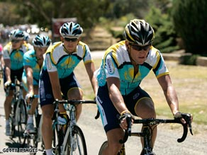 Armstrong leads a group of his Astana teammates during Wednesday's second stage.
