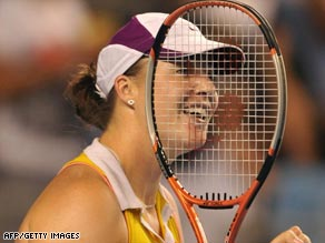 Kleybanova celebrates 'the best win of her career' after defeating Ana Ivanovic in Melbourne.