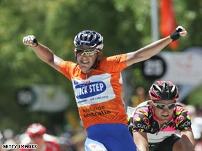 Davis celebrates his fifth stage victory and third of the Tour Down Under.