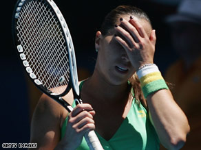 Jankovic reacts after a point in her fourth round Australian Open match on Sunday against Bartoli.