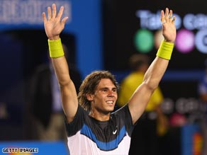 Nadal shows his joy and relief after his marathon five-set win over Verdasco.