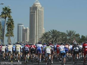 Riders in the fourth stage of the Tour of Qatar that has been rocked by the death of Belgian Frederiek Nolf.