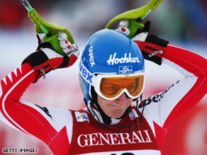 Zettel celebrates her victory in Friday's super-combi at Val d'Isere.
