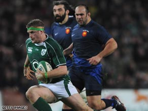 Jamie Heaslip crosses the line for Ireland's opening try in their thrilling victory over France in Dublin.