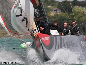 Alinghi in action during the Louis Vuitton Pacific Series in Auckland, New Zealand