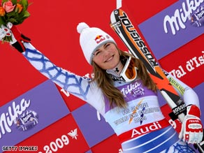 American Vonn celebrates after clinching her second gold in Val d'Isere.