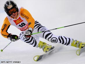 Hoelzl powers down the Bellevarde piste on her way to a shock victory in the women's giant slalom.
