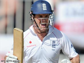 England captain Strauss celebrates his century as the tourists took early control of the third Test in Antigua.