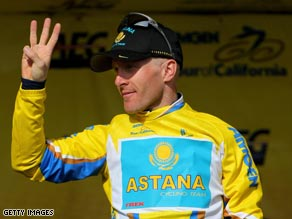 Leipheimer is homing in on his third Tour of California after winning the stage six time-trial.