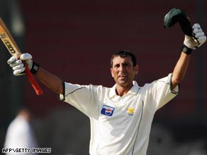 Skipper Younus celebrates becoming only the third Pakistani to crack a triple-century in the Test arena.