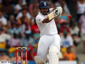 Ravi Bopara hooks another boundary on his way to a maiden Test century at the Kensington Oval.