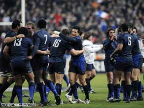 France players celebrate after their thrilling victory over Six Nations champions France in Paris.
