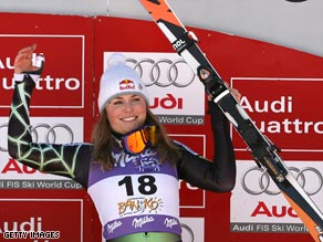 Vonn was celebrating her seventh victory of the World Cup season.