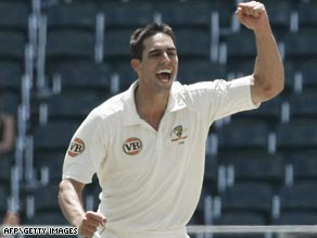 Man-of-the-match Johnson celebrates one of his four second innings wickets in Australia's first Test win.