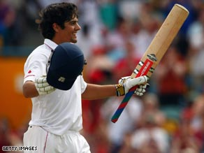 England's Cook celebrates his eighth Test century before the match against West Indies ends in a draw.