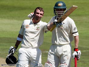 Hughes (left) and Katich (right) shared a 184-run opening stand to put Australia firmly in control in Durban.