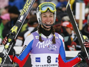 Aubert claimed France's first women's slalom victory for seven years after Lindsey Vonn crashed out.