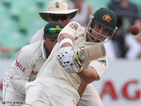 Hughes hits a six on his way to becoming the youngest player to hit a century in both innings of a Test match.