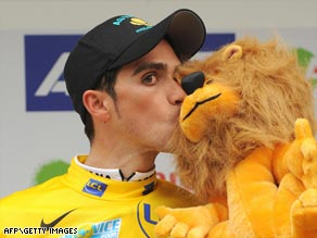 Spain's Contador sports the yellow jersey after taking the opening stage of the Paris-Nice cycling race.