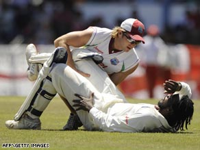Skipper Chris Gayle was forced to retire with hamstring trouble having hit 100 not out against England.