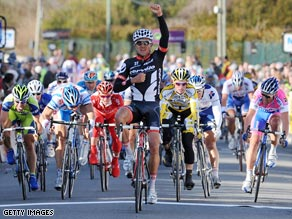 Haussler celebrates after taking the honors in the second stage of Paris-Nice on Monday.