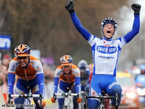 Frenchman Chavanel celebrates after winning a sprint finish to the third stage of the Paris-Nice race.