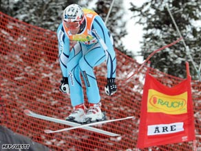 Svindal goes airborne on his way to victory at the finals in Are.
