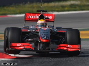 Hamilton tests drives the new McLaren at the Circuit de Catalunya.