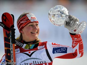 Poutiainen overturned a 41-point deficit to win the crystal globe as the top women's giant slalom skier this season.
