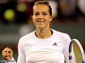 Pavlyuchenkova celebrates her victory over Jelena Jankovic in the Indian Wells Masters.