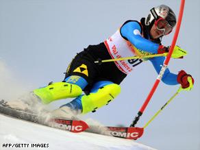 Fatemeh Kiadarbandsari, competing at last month's World Ski Championships, in France.