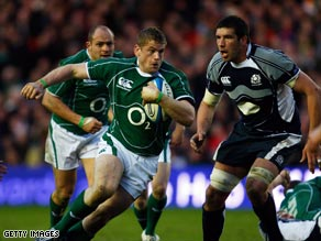 Jamie Heaslip goes over for the only try as Ireland won 22-15 at Murrayfield on Saturday.