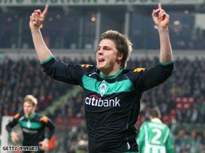 Sebastien Prodl celebrates putting Werder Bremen ahead on Wednesday night.