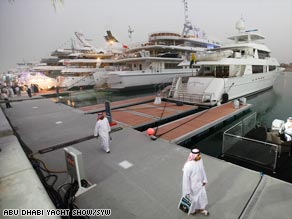 On show: The recent Abu Dhabi Yacht Show attracted some of the world's biggest super-yachts.