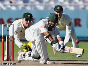 Prince sweeps to leg during his superb innings of 150 in Cape Town.