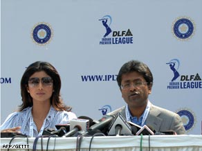 IPL chairman Lalit Modi and actress Shilpa Shetty at the player auction on February 6.