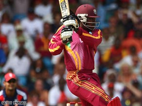 Chris Gayle was in imperious form as he led West Indies to a crushing victory over England.