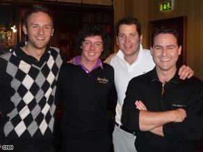 The Living Golf team films a piece to camera at the Lough Erne Golf Resort, Northern Ireland.