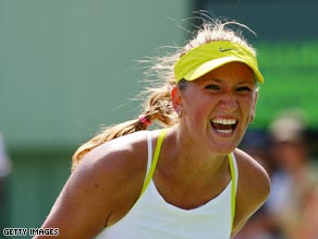 Azarenka shows her delight at reaching the final in Miami.