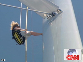 Tall task: MainSail host Shirley Robertson takes on the world's biggest aluminium mast