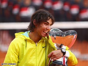 Nadal gets his hands on the Monte Carlo trophy for the fifth straight time.