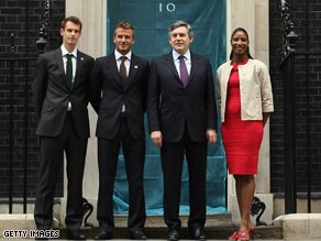 Prime Minister Gordon Brown is flanked by Beckham and Lewis with Murray on the left.