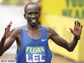 Kenyan Lel crosses the finish line after winning last year's London Marathon.