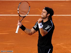 Fernando Gonzalez celebrates reaching the Barcelona Open semifinals after defeating Fernando Verdasco.