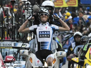 Andy Schleck celebrates the biggest win of his career with victory on the Liege-Bastogne-Liege classic.