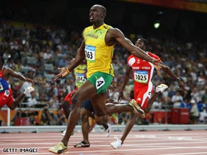 Jamaican flyer Bolt claimed 100 meters gold in Beijing in a new world record time.